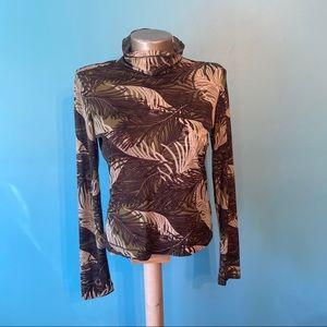Mexx mock neck feather print long-sleeves shirt